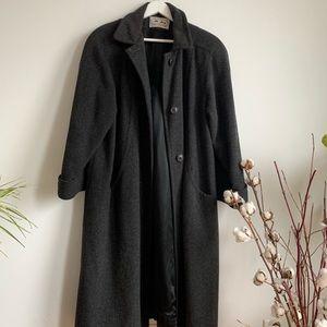 Vintage Jackets & Coats - Vintage Dark Grey Wool Blend Long Coat Size 12